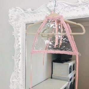 SALE CLEAR w/ Pastel Pink Trim Party Crop Top